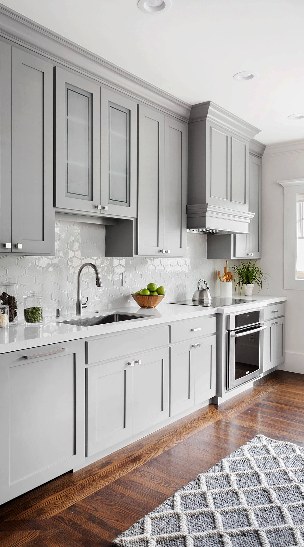92439 Light Gray Kitchen Cabinets With Dark Brown Hardwood Floor 1