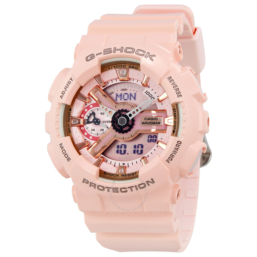 casio g shock digital dial pink resin ladies watch gmas110mp 4a1
